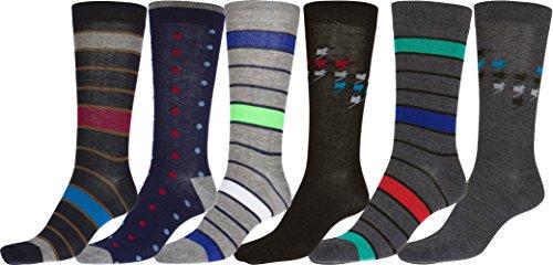 Sakkas 70501G3 - Männer Crew High Patterned Bunte Design Kleid Socken Asst Wert 6-Pack - Punkte und Streifen-1 - 10-13 (Stretch-zehen-socken Crew)