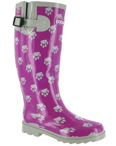 Ladies Costwold Collection Dog Paw Welly Boots Womens Slip-On Wellington Shoes