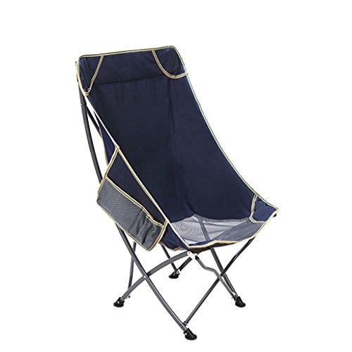 GFL Chaises Chaise Pliante Portable pêche Plage Dossier Loisirs accoudoir Camping Pique-Nique Chaise Bleu foncé (A++)