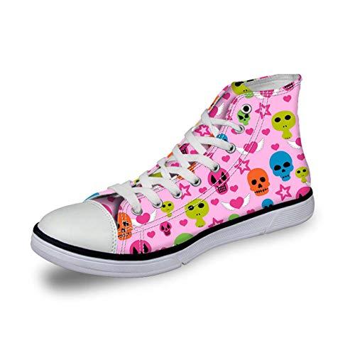 Fashion Skull Print Women HI Tops Canvas Sneakers Walking Trainers Girls Pumps Pink UK 7 Dolce & Gabbana Print-heels