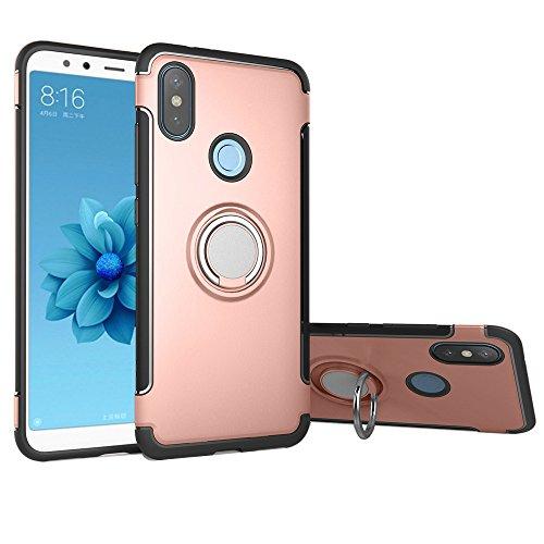 LAGUI Funda Adecuado para Xiaomi Mi 8, Doble Capa Carcasa Con Anilla posterior, oporte de Montaje Magnético del Coche Cáscara Especial, Rosa Dorada