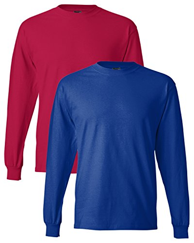 Hanes uomo long-sleeve beefy-t camicia (confezione da 2) 1 Red / 1 Royal