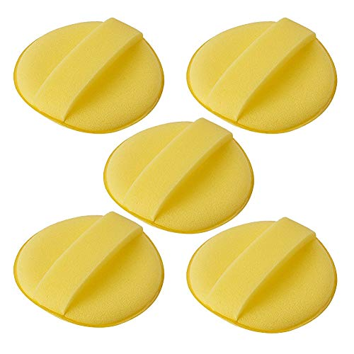 JSCARLIFE Autowachs-Schwamm, Schaumstoff-Pads, Mikrofaser-Autowachs-Applikator, 5 Stück, Gelb