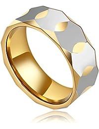Daesar Joyería Anillo Acero de Tungsteno Hombre Diamante Forma Alianzas Boda Compromiso Pedida Plata Oro