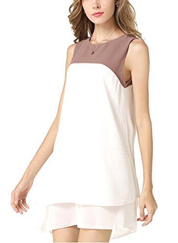 SMITHROAD Damen Chiffon Kleider Sommerkleid Blusenkleid Rundhals Ausschnitt  Ärmellos Kurz elegant sommerlich Gr.36- ...