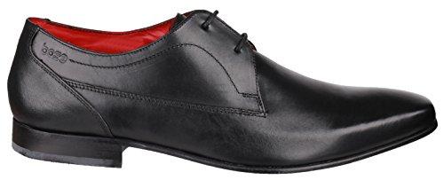 Base London PV03 signori pulsante da uomo ceroso Blk con lacci scarpe in pelle Nero (nero)