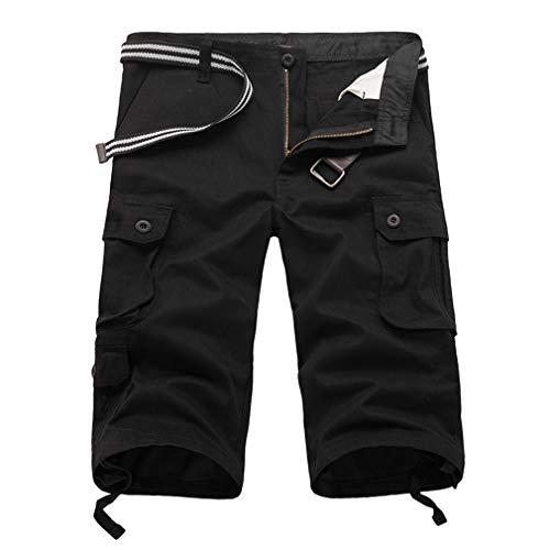 Lässige Herren Twill Cargo Shorts Sommer Mode Sport Strand Reisen Taschen Capri Camouflage Shorts Hosen Schwarz 42 - Weiße Twill-capris