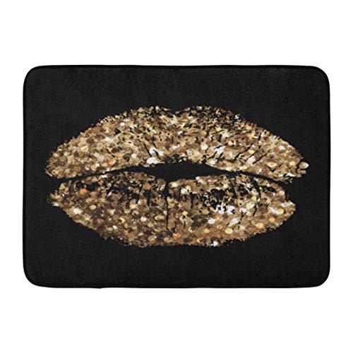 Fußmatten Bad Teppiche Outdoor/Indoor Fußmatte Glam of Kiss Gold Schimmer Pailletten Make-up Bling Champagner Sexy Badezimmer Dekor Teppich Badematte - Sexy Schimmer