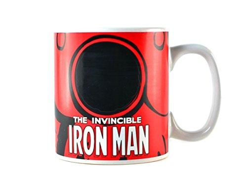 Klang und Kleid 1012349110 Tasse Iron Man, unter Hitze änderndes Logo, Edelstahl, weiß, 9 x 4 x 4 cm (Iron Man-kleid)