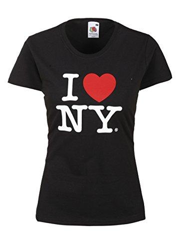 I Love NY T-Shirt Damen Herz Shirt weiblicher Schnitt verschiedene Farben hochwertiger Druck. Damentop mit Love Motiv Schwarz Größe S 100% Baumwolle -