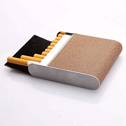 ui Kreative Edelstahl PU Zigarettenschachtel Magnetische Taste Kann 20 Sticks Halten,Apricot ()