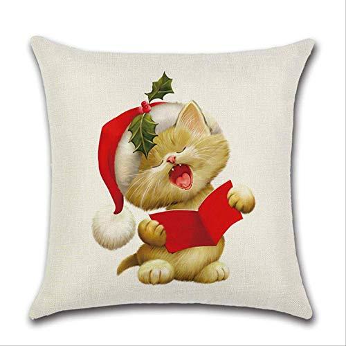 fssdd Hund Katze Muster Kissenbezug Abdeckung Weihnachten Hut Blätter Leinen Home Supplies 45x45cm05 -