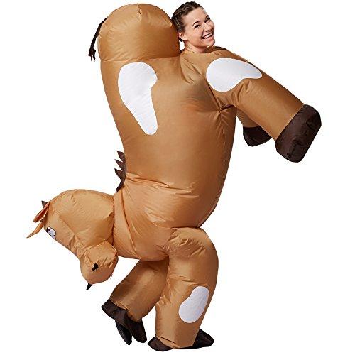 Herren Pferd Kostüm - TecTake dressforfun Selbstaufblasbares Unisex Kostüm Pferd | Batteriebetrieben | Uneingeschränkte Bewegungsfreiheit