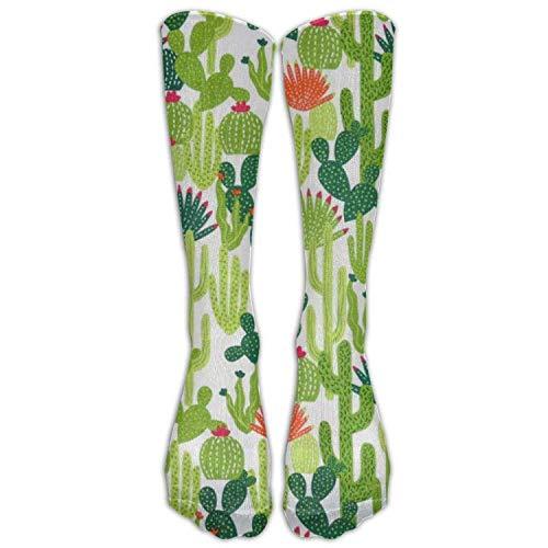 ocken,Exotic Natural Watercolor Bouquet Cactus Succulent Flowers Twigs Lizard Knee High Socks Sport Long Sock Athletic Tube Stockings ()