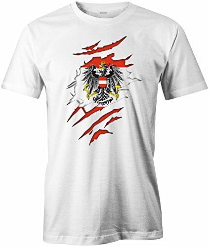 Jayess WM 2018 - Österreich Aufgerissen - Austria - Herren T-Shirt in Weiss by Gr. XXL