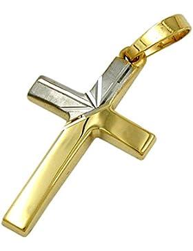 Ketten-Anhänger Jesus Kreuz Kruzifix bicolor 585 Gold 14 Karat