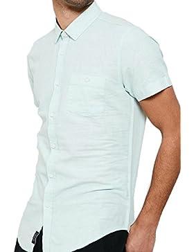 Hombre Forrado Camisa Threadbare manga corta con cuello diseño casual verano NUEVO - turquesa - kmv076pkb, Medium