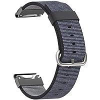ConquroTejido de Nylon Correa de reemplazo de liberación rápida Banda de Ajuste fácil Ajustable reemplazo Banda para Garmin Approach S60 (Negro)