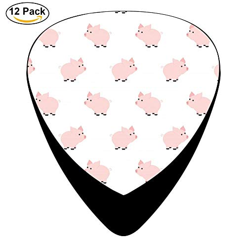 Pink Piggy Celluloid Electric Guitar Picks 12-pack Plectrums For Bass Music Tool