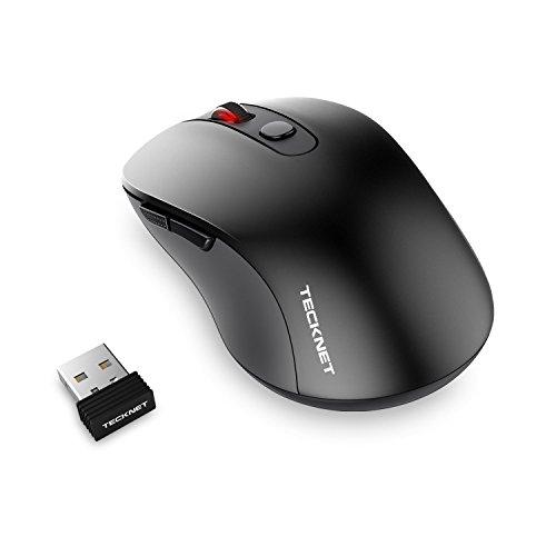 Mouse senza fili,TeckNet PURE Wireless Mouse con 6 Pulsanti, 18 Mesi durata della batteria, 3 livelli di DPI regolabile: 1600/1200/800 dpi, ricevitore Nano, 2.4G