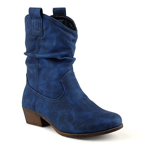owboystiefel Schlupfstielfe Boots Biker Stiefeletten Warm Gefüttert Winterstiefel Blockabsatz Stiefel Schuhe Blau EU 37 (Western-stiefel Für Damen Blau)