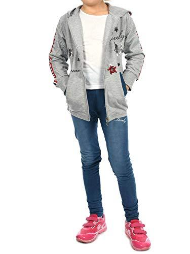 t-Jacke Jeggings Sweat-Shirt Leggings Hosen Freizeit-Hose Sport-Anzug (2 TLG. Set) 30019 Grau 122 ()