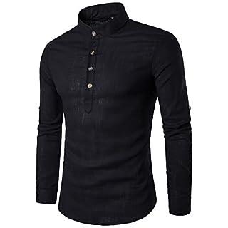Zarupeng Herren Langarm Shirt, Einfarbig Slim Fit Poloshirt, T-Shirts aus Leinen und Baumwoll, Stehkragen Hemd Oberteile Pullover (XL, Schwarz)