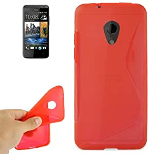 S Line Anti-skid Frosted TPU Protective Case for HTC Desire 700 (Red)