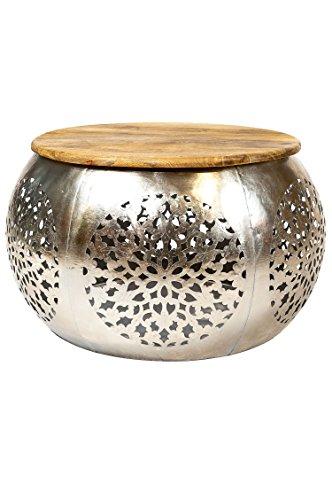 Wohnzimmertisch Couchtisch rund modern Metall und Holz ø 70cm | Marokkanischer runder Vintage Tisch aus Metal für Ihre Wohnzimmer | Moderner Design Sofatisch in Silber Antik Hochglanz Carlsen ø 70cm -