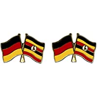 Yantec Freundschaftspin 2er Pack Deutschland Uganda Pin Anstecknadel Doppelflaggenpin