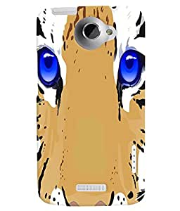 Fuson 3D Printed Tiger Face Designer back case cover for HTC One X - D4502