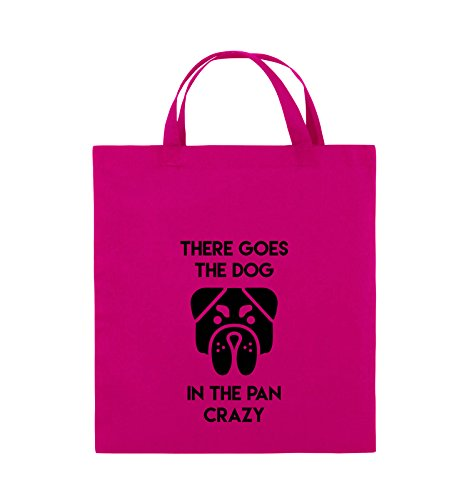 Comedy Bags - THERE GOES THE DOG IN THE PAN CRAZY - Jutebeutel - kurze Henkel - 38x42cm - Farbe: Schwarz / Silber Pink / Schwarz