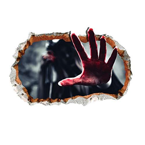 Kostüm Halloween Linkes Auge - TIREOW Halloween Entfernbar Realistisch Wirkende Schaurig Blutig Geist Hand Wandaufkleber Wohnzimmer Schlafzimmer Haunted House Auto Fensteraufkleber Wandtattoo - einfach anzuwenden (D)