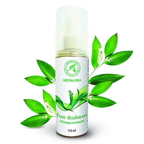Spray per piedi con l'olio naturale a base albero di tè e menta piperita - deodorante per piedi 115ml - proprietà antisettiche e rinfrescanti - piedi freschi e profumati - la cura del piede