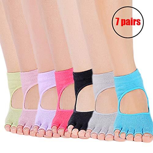 DIMPLEYA Yoga-Socken Pilates-Socken FüR Damen Toeless Rutschfeste Socken FüR Ballerina-Stil Yoga-Socken Baumwolle EinheitsgrößE Gummisohlen AtmungsaktivitäT(32-39Eu) 5 Paare,7pairs