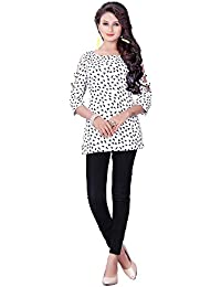 Purva Art Girls Western Bird Print White Stitched Tunic & Top For Womens (PA-2401_White_Bird Print_Micro_Stitched_JFW...