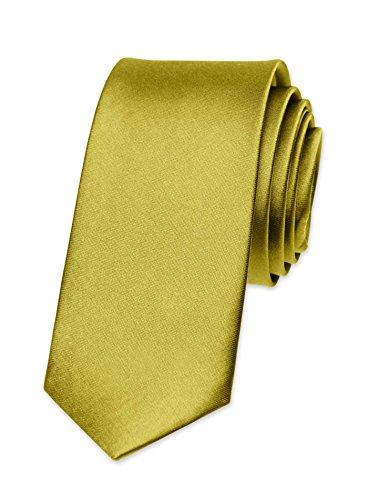 Autiga Krawatte Herren Hochzeit Konfirmation Slim Tie Retro Business Schlips schmal, Gold, unisize