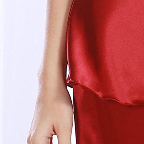 WanYang Camicia Pizzo Vestaglia Di Raso Vestaglia Pigiama Set Donna Pantaloncini Vino
