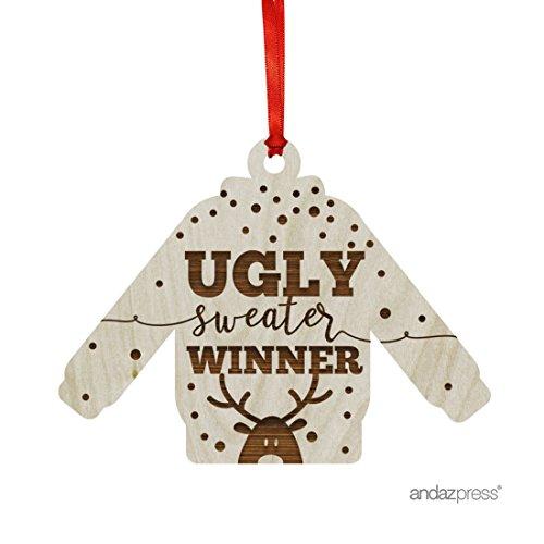 Andaz Drücken Laser Gravur Holz Weihnachten Ornament mit Geschenk Tüte, rund, 1er Pack, holz, Ugly Sweater Winner, Sweater Shape