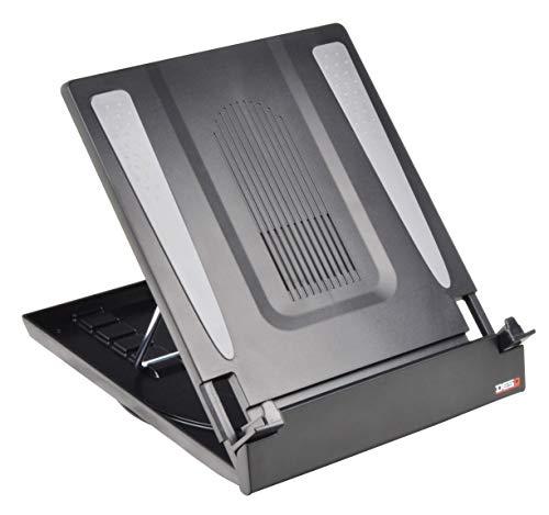 Desq 1503 Brief und Ablagekörbe, Erhöht den Laptop bis max. Einstellbar in 5 verschiedenen Positionen und mit einem integrierten Drehtisch ausgestattet, 21 cm, schwarz