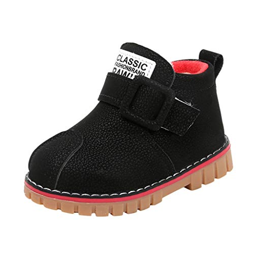 Scenxion Children Kids Boots, Fashion Baby Winter Thick Warm Snow Boots Children Slip On Pu Leather Boots Anti-Slip Ankle Boots Outdoor Walking Shoes Girls Boys Boots Short Bootie