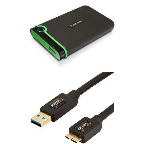 Set Transcend StoreJet 25M3 Anti-Shock 2 TB Externe Festplatte mit AmazonBasics USB-3.0-Kabel
