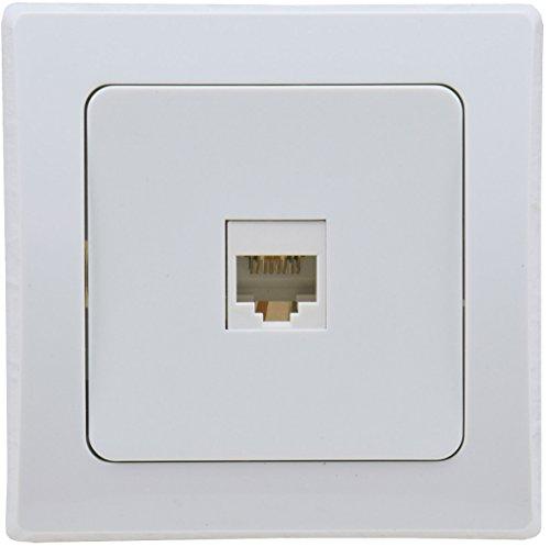 Delphi Telefon Dose I LAN Netzwerk I RJ45 Buchse für ISDN, Cat.5, Cat.6, Cat.7 I inkl. Rahmen I Unterputz I weiß