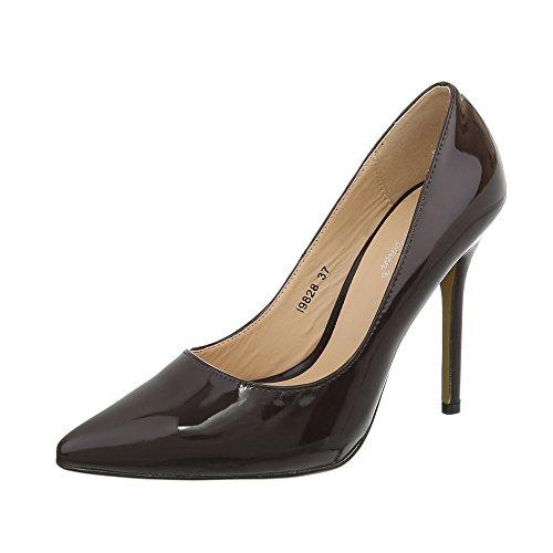 Ital-Design High Heel Pumps Damen-Schuhe Pfennig-/Stilettoabsatz Heels Dunkelbraun, Gr 39, I9828-