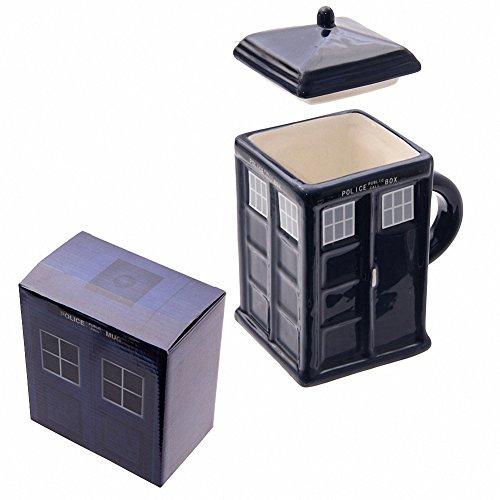 Ceramica, Police Box Doctor WHO TARDIS-Tazza Mug con coperchio, in confezione regalo