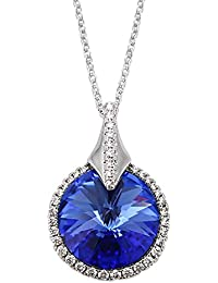 Peora Victorian Blue SWAROVSKI Crystal Pendant Necklace For Women And Girls