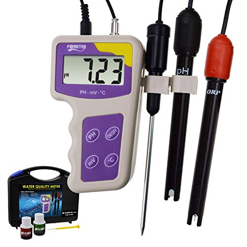 GAIN EXPRESS 3 in 1 pH mV ORP Temperatur Redox-Meter, Removable Elektrode Tragbarer Wasserqualität Tester Thermometer Analyse Analyzer -