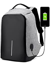 TravelMate Anti-Theft Laptop Travel Backpack with USB Charging Point (Grey)