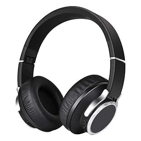 Casque Bluetooth , Casque Stéréo sans fil Bluetooth 4.1, Ecouteur Stéréo, Casque Audio, Lecteur MP3, Casque Pliable avec Micro des écouteurs sans fil avec APTX
