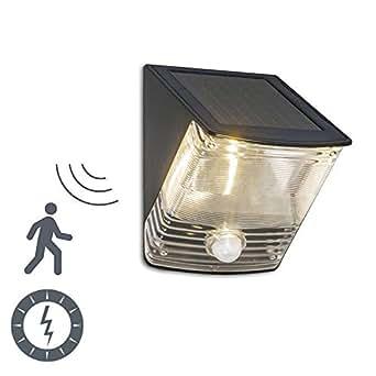 QAZQA Moderne Applique Dark LED à détecteur de mouvements - énergie solaire pour extérieur, Plastique, Rectangulaire, Autres / LED inclues Module Max. 1 x 1 Watt A++